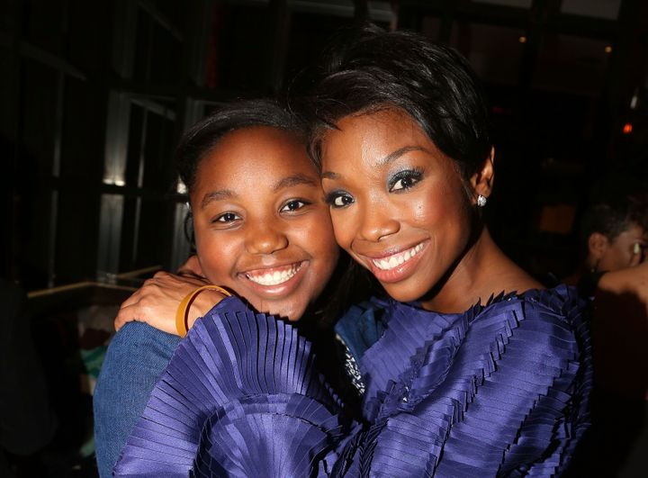 """Brandy Norwood and her daughter, Sy'rai Iman Smith, in 2015 after Norwood's debut in """"Chicago"""" on Broadway in New York."""
