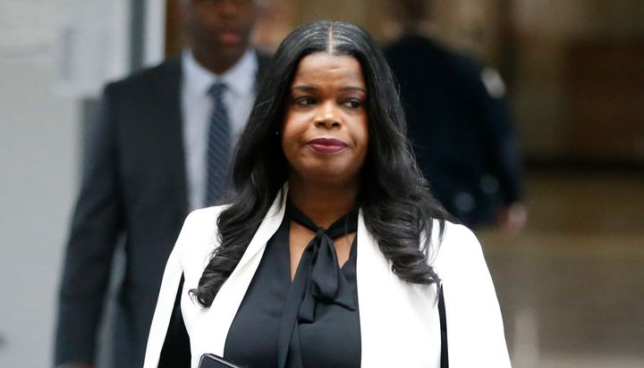 Cook County State's Attorney Kim Foxx arrives to speak with reporters about R. Kelly's first court appearance on Feb. 23 in C