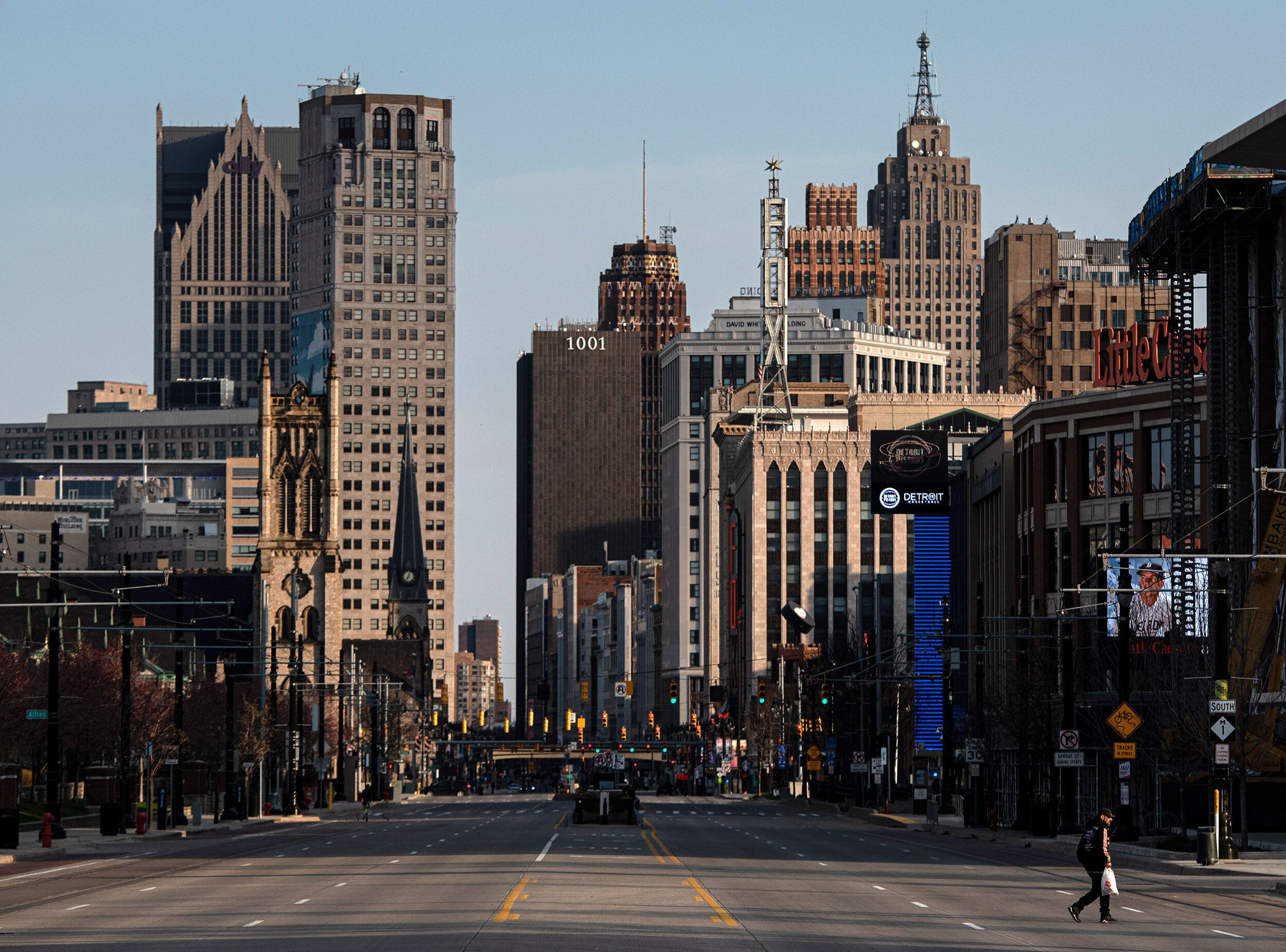 A nearly empty Woodward Avenue in Detroit on Saturday.