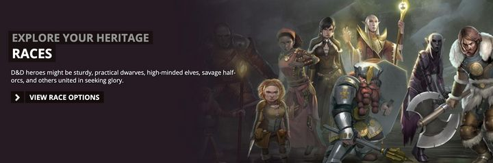"""The D&D website invites players to """"explore your heritage"""" and choose a race."""