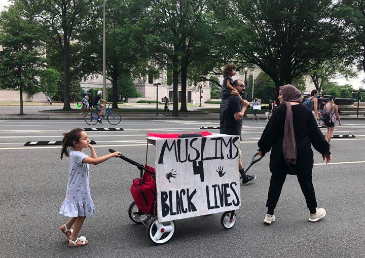 Muslim protesters join a Black Lives Matter demonstration in Washington on June 6.