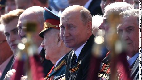 The Russian President Vladimir Putin extends a Victory Day military parade in Moscow, Russia, on June 24, 2020.