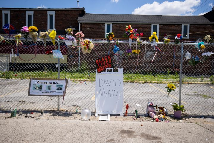 A makeshift memorial for David McAtee, a cook who often fed customers who couldn't pay for free, outside the location where h