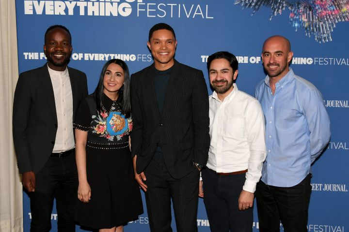 """The Daily Show's"" David Kibuuka, Jen Flanz, Trevor Noah, Zhubin Parang, and Ramin Hedayati attend The Wall Street Journal's"