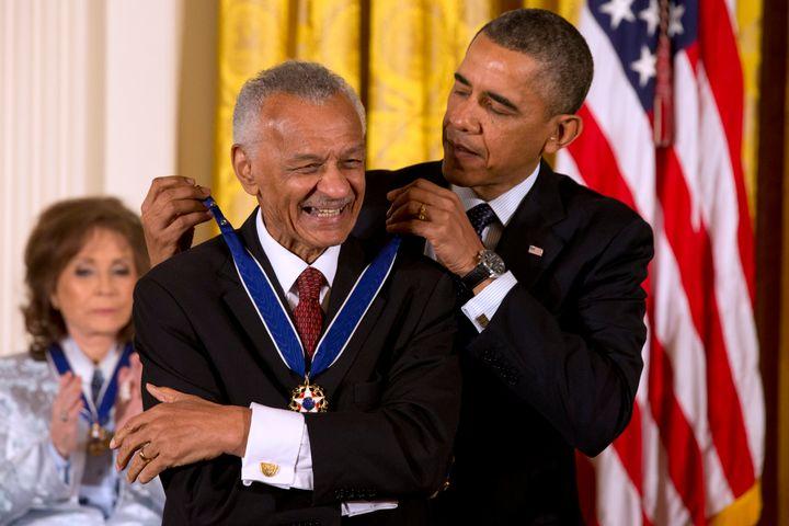 President Barack Obama awarding C.T. Vivian the Presidential Medal of Freedom in the East Room of the White House, Wednesday,