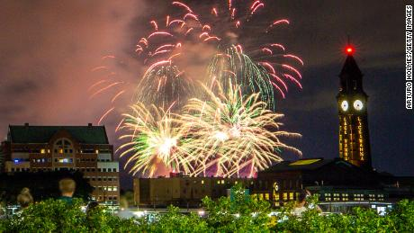 Fireworks light up the sky on June 30 in New York City --  part of July 4th displays in locations around the city that are kept secret to minimize crowds gathering in the midst of the coronavirus pandemic.