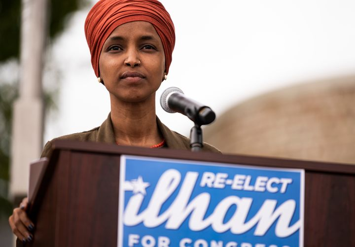Rep. Ilhan Omar (D-Minn.) speaks at a news conference in St. Paul, Minnesota, Wednesday. Omar is locked in an unexpectedly co