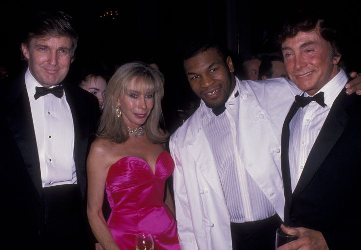 Donald Trump, Mike Tyson and other guests at a charity event in New York City in 1989, the year Trump helped whip up public a