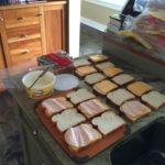 The sandwich making process.