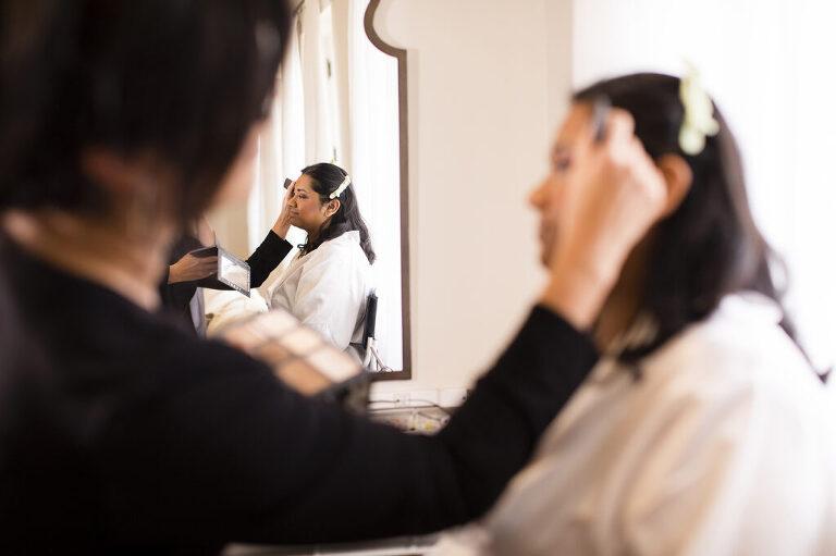 Hampton Roads makeup artist applying bridal makeup.