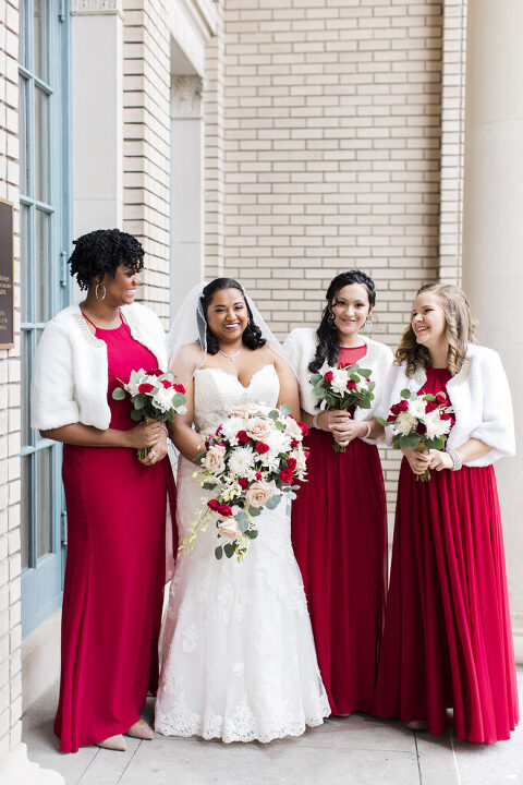 Bridal party in front of the Historic Post Office in Hampton, Virginia.