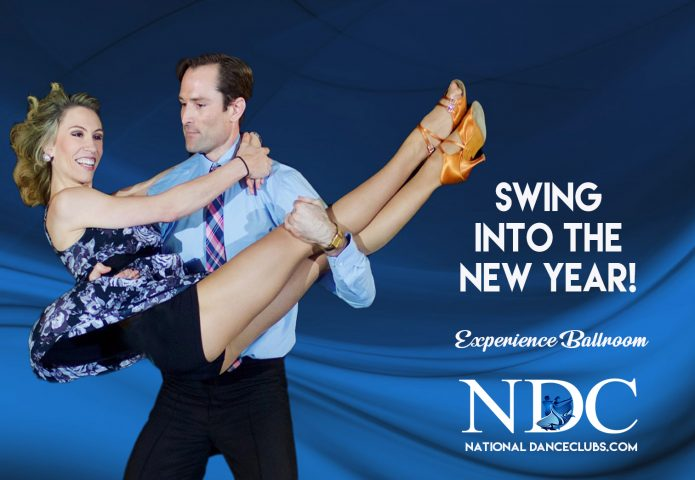 well-dressed man lifting smiling woman in dance shoes