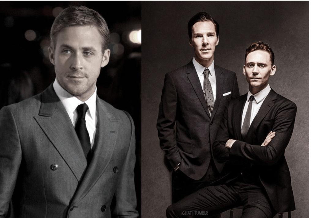 Ryan Gosling, Benedict Cumberbatch, Tom Hiddleston in suits