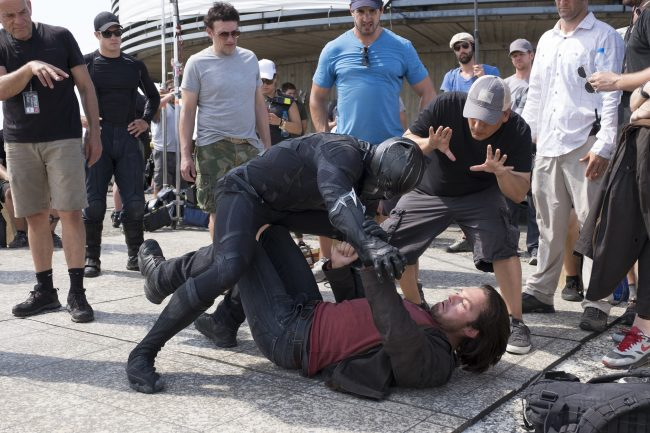 Marvel's Captain America: Civil War L to R: Director Anthony Russo, Chadwick Boseman (Black Panther), Sebastian Stan (Winter Soldier) and Director Joe Russo filming a scene on set. Photo Credit: Zade Rosenthal © Marvel 2016