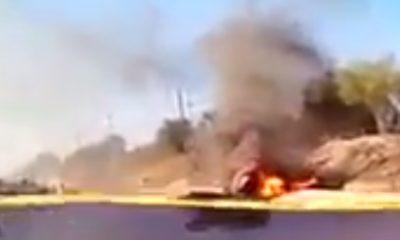 Incendio helicóptero caído