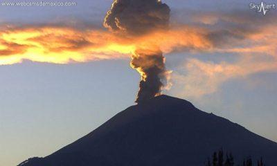 Popocatépetl registra explosión de dos mil metros de altura