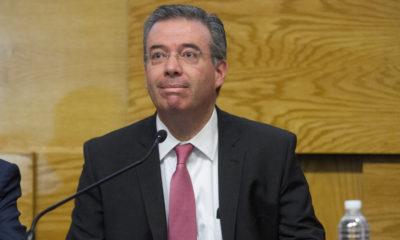 CIUDAD DE MÉXICO, 28FEBRERO2018.- Alejandro Díaz de León, Gobernador de Banxico, ofreció el balance trimestral de la economía del país en la sede del Banco de México. FOTO: MOISÉS PABLO /CUARTOSCURO.COM