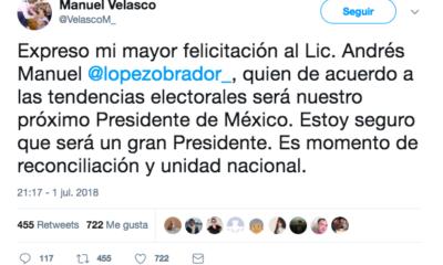 Manuel Velasco felicita a AMLO