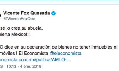 Vicente Fox, Fox, AMLO, abuela, se lo crea, burla, twitter, declaración, bienes, dinero, mañanera,