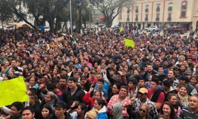 Huelguistas de Matamoros se manifiestan para exigir un aumento salarial del 20%