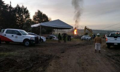 Fuga de gas LP por toma clandestina en ducto de Pemex en Puebla