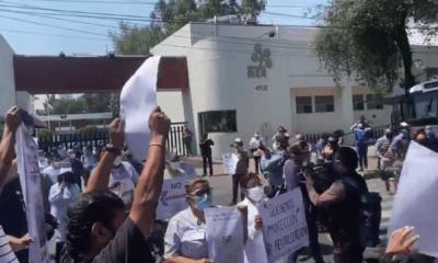 Trabajadores del INER protestan por falta de insumos médicos