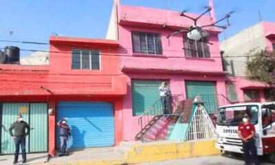 Sanitizan con drones colonias de Ecatepec
