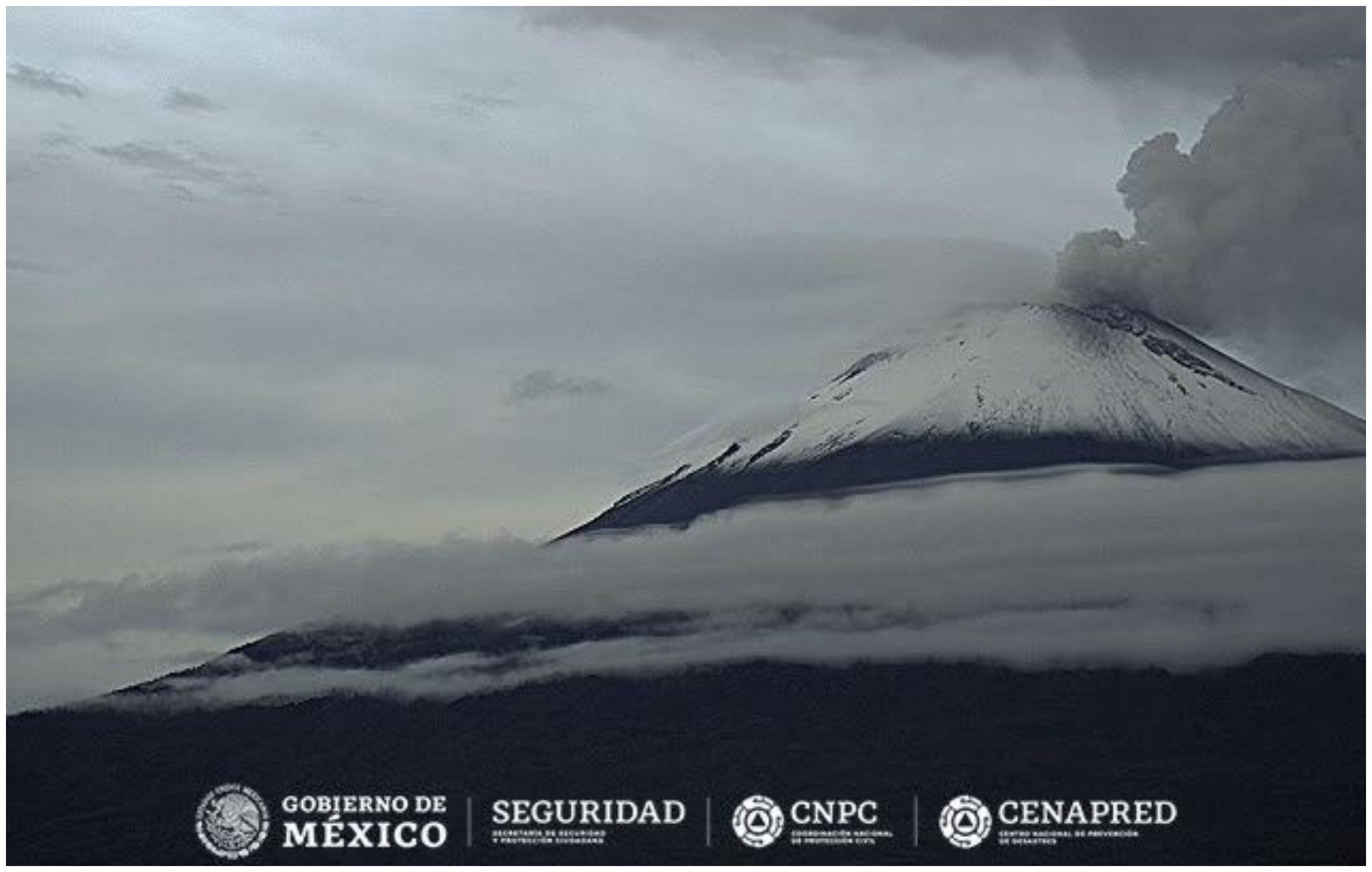 Cenapred detecta dos explosiones del volcán Popocatépetl