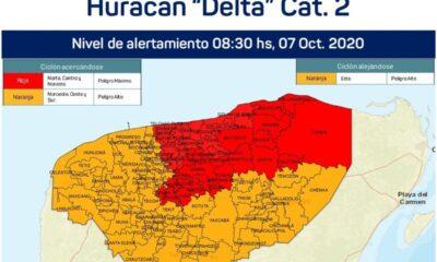 Huracán Delta se degrada a categoría 2; mantienen alerta en Yucatán y Quintana Roo