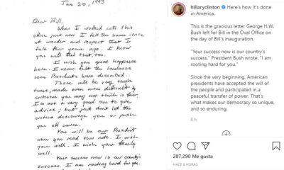 Hillary Clinton comparte carta de Bush para Bill Clinton cuando asumió la presidencia
