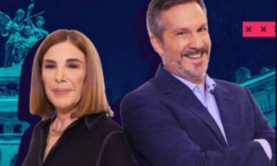 Chocan Ackerman y Sabina Berman en programa de televisión