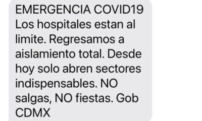 Ante la emergencia por Covid-19 en la CDMX continúa envío de alertas