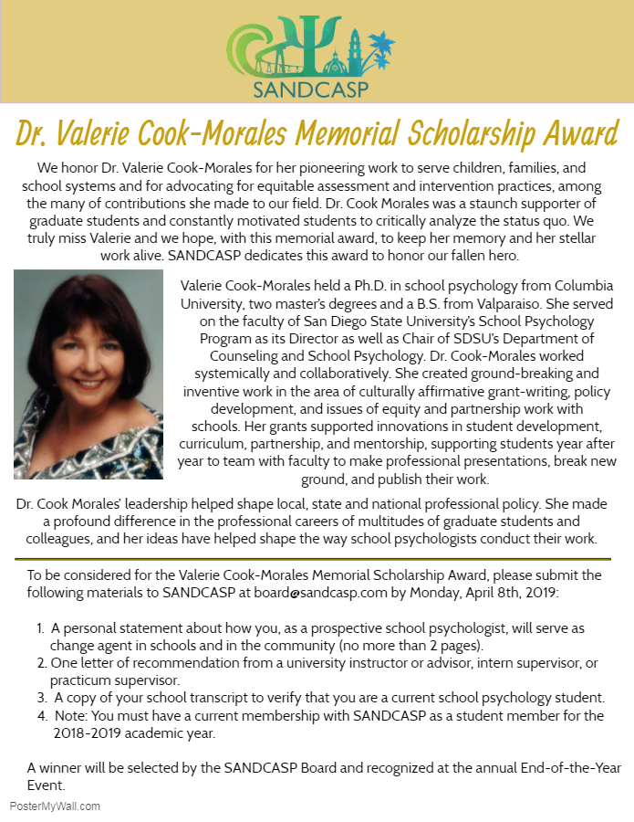 Valerie Cook-Morales Scholarship 2019 - Made with PosterMyWall