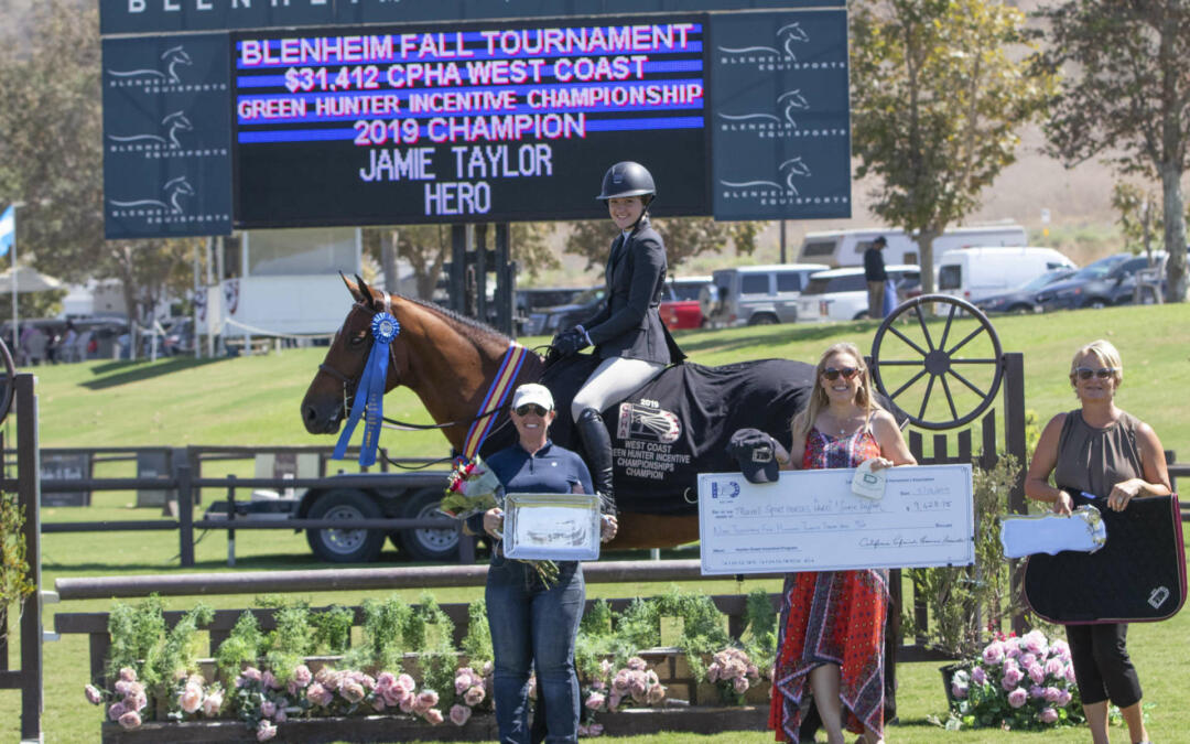 "Jamie Taylor and Hero Capture the CPHA West Coast Green Hunter 3' & 3'3"" Incentive Championship"