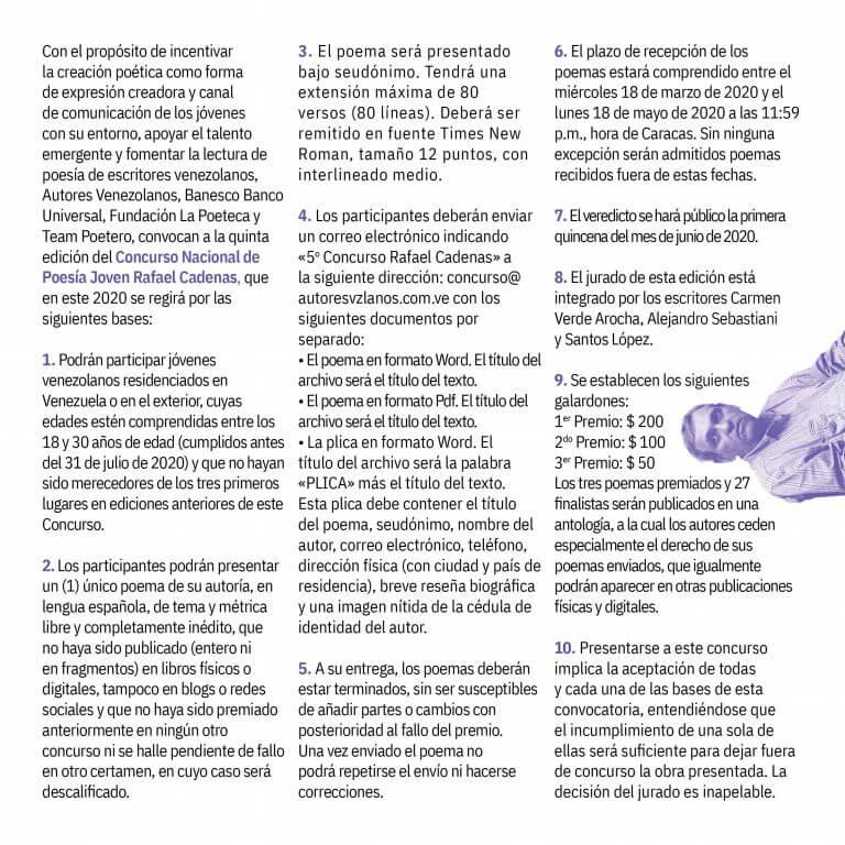 Bases del Concurso de Poesía Joven Rafael Cadenas
