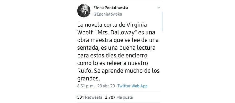 Tuit de Elena Poniatowska
