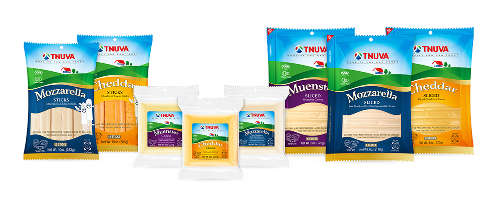 Cheddar, Mozzarella, Muenster added to Tnuva's top quality cheese line