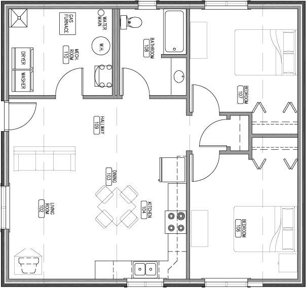 1044 sq ft unit