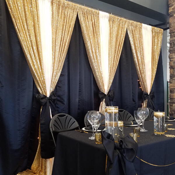 Black Glitz Gold Backdrop | Celebrations by Rent-All located in Sioux Center | Wedding Rental | Backdrops For Rent