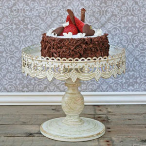 """Cake Stand Antique White 10"""" 
