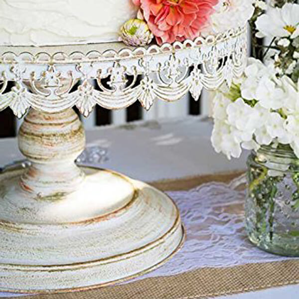 """Cake Stand Antique White 16""""   Celebrations by Rent-All located in Sioux Center   Wedding Rentals   For Rent"""