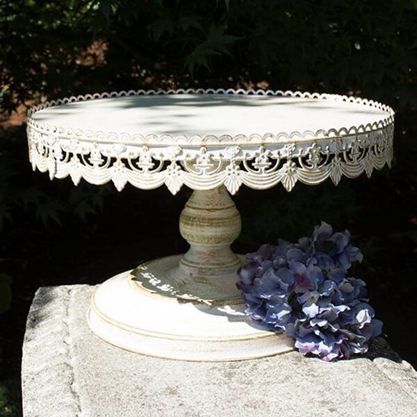 """Cake Stand Antique White 22""""   Celebrations by Rent-All located in Sioux Center   Wedding Rentals   For Rent"""
