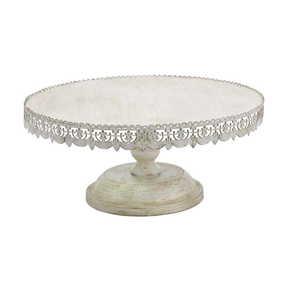 """Cake Stand Antique White 22"""" 