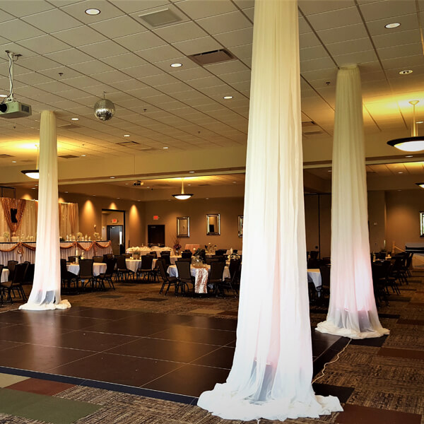 Ceiling Columns   Celebrations by Rent-All located in Sioux Center   Wedding Rental   Ceiling Decor For Rent