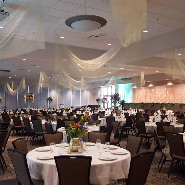 Ceiling Drape | Celebrations by Rent-All located in Sioux Center | Wedding Rental | Ceiling Decor For Rent