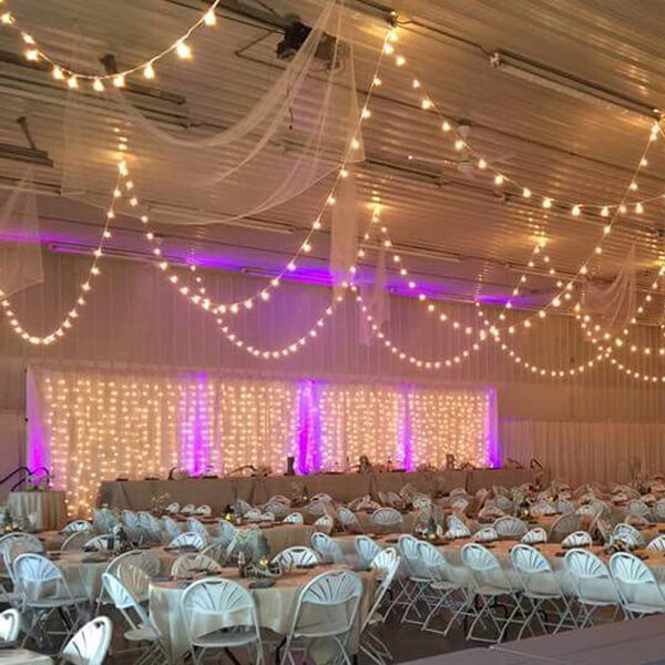 Ceiling Mini Globe Lights | Celebrations by Rent-All located in Sioux Center | Wedding Rental | Ceiling Decor For Rent