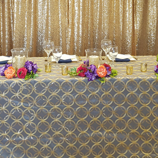 Gold Circle Sequin Tablecloth | Celebrations by Rent-All located in Sioux Center | Wedding Rental | Overlay Tablecloths For Rent