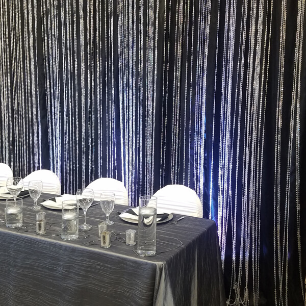 Crystal Beaded Backdrop | Celebrations by Rent-All located in Sioux Center | Wedding Rental | Backdrops For Rent