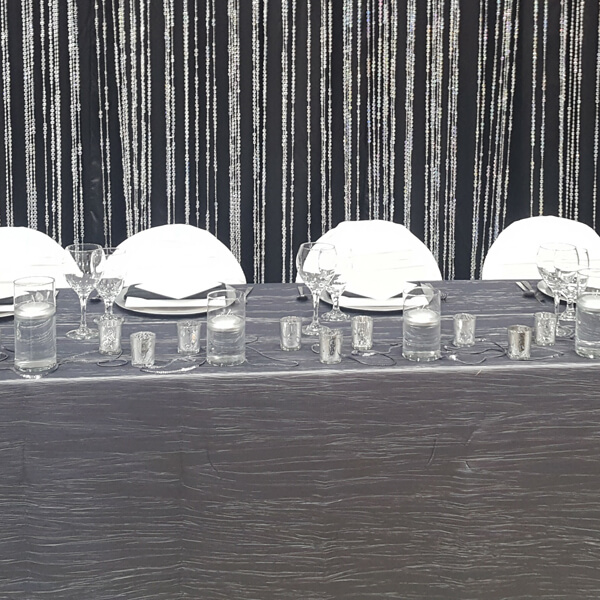 Silver Delano Tablecloth   Celebrations by Rent-All located in Sioux Center   Wedding Rental   Overlay Tablecloths For Rent