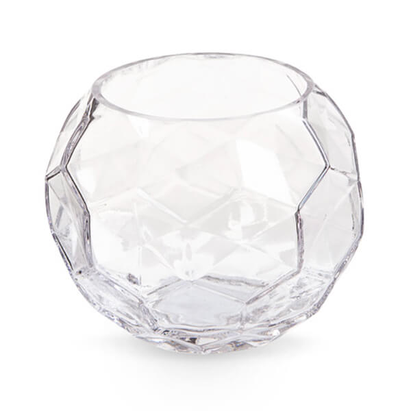 """Glass Faceted Bowl 5"""" 